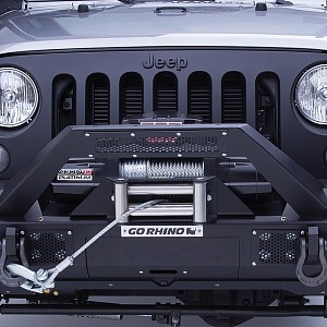 Picture of Go Rhino® - Jeep Wrangler 2012 BRJ40 Stubby Black Front Winch Modular Bumper with End Caps and Light Mount Bar
