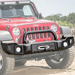 Picture of Rugged Ridge Spartacus Front Bumper with Overrider Bar - Black Powder Coat