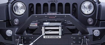 Photo of a Go Rhino® - Jeep Wrangler 2012 BRJ40 Stubby Black Front Winch Modular Bumper With End Caps And Light Mount Bar