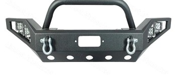 Photo of a JW0308 Style Steel Front Winch Bull Bar With LED Lights