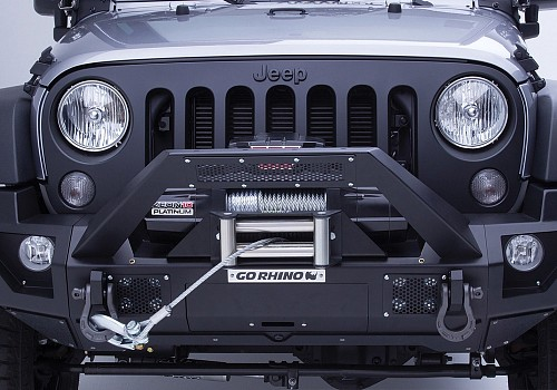 Photo of Go Rhino® - Jeep Wrangler 2012 BRJ40 Stubby Black Front Winch Modular Bumper with End Caps and Light Mount Bar
