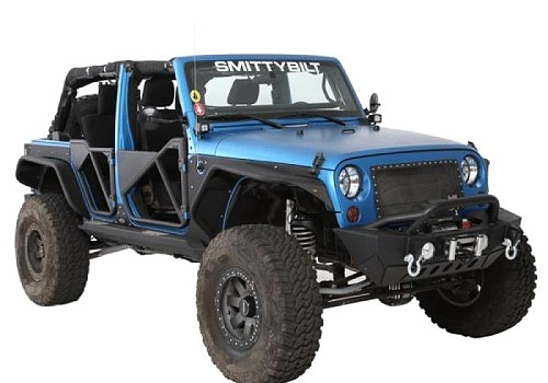 Photo of Smittybilt XRC Gen2 Front Bumper with Winch Plate and D-Ring Mounts - Textured Matte Black Powdercoat