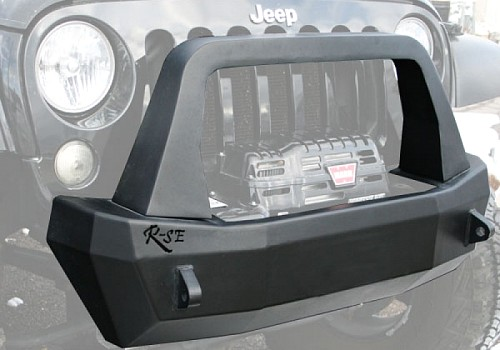 Photo of Rock Slide Rigid Shorty Front Bumper With Bull Bar, Winch Opening & Integrated Winch Plate